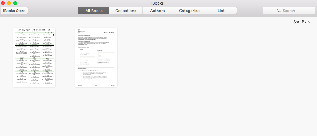 Screenshot of iBooks, recommended app for viewing EPUB files on Mac/iOS