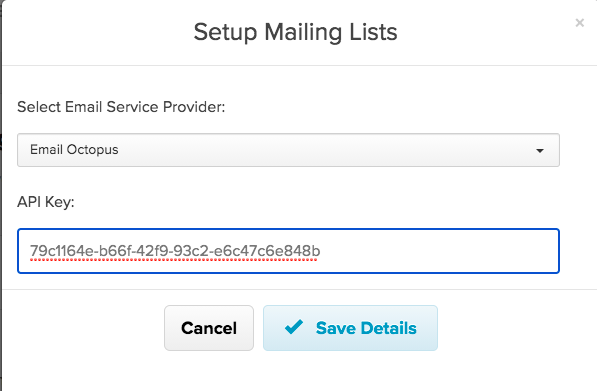 The EmailOctopus API key pasted into Payhip