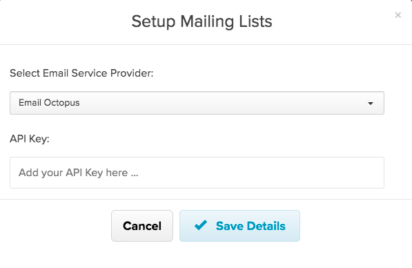 Screenshot showing the modal for integrating with EmailOctopus on Payhip