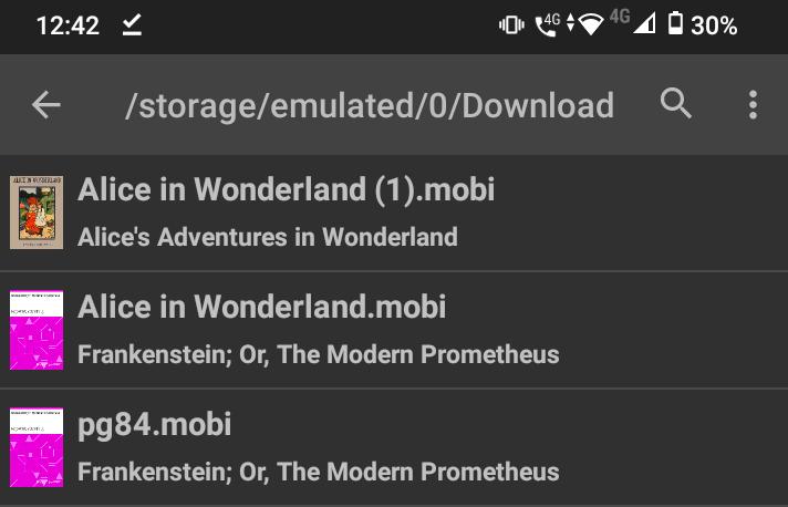 Screenshot of a file in FBReader