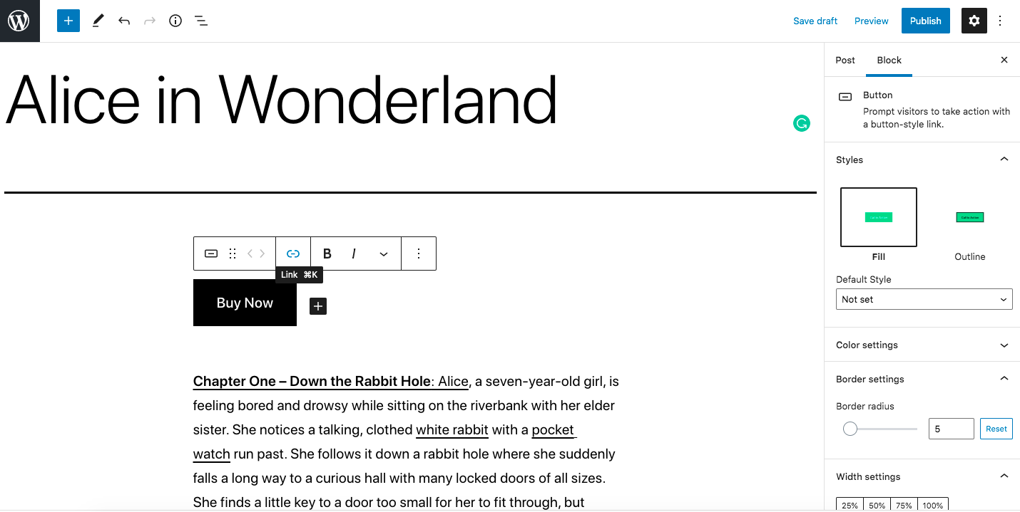 Screenshot showing the add link option for a button block in the Gutenberg Editor on WordPress