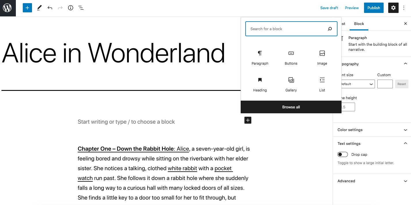 Screenshot showing adding a button block on WordPress