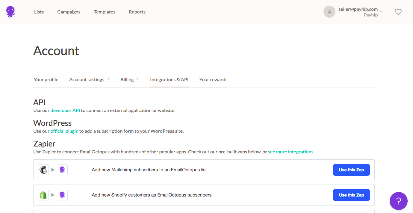 The Integrations & API page on EmailOctopus