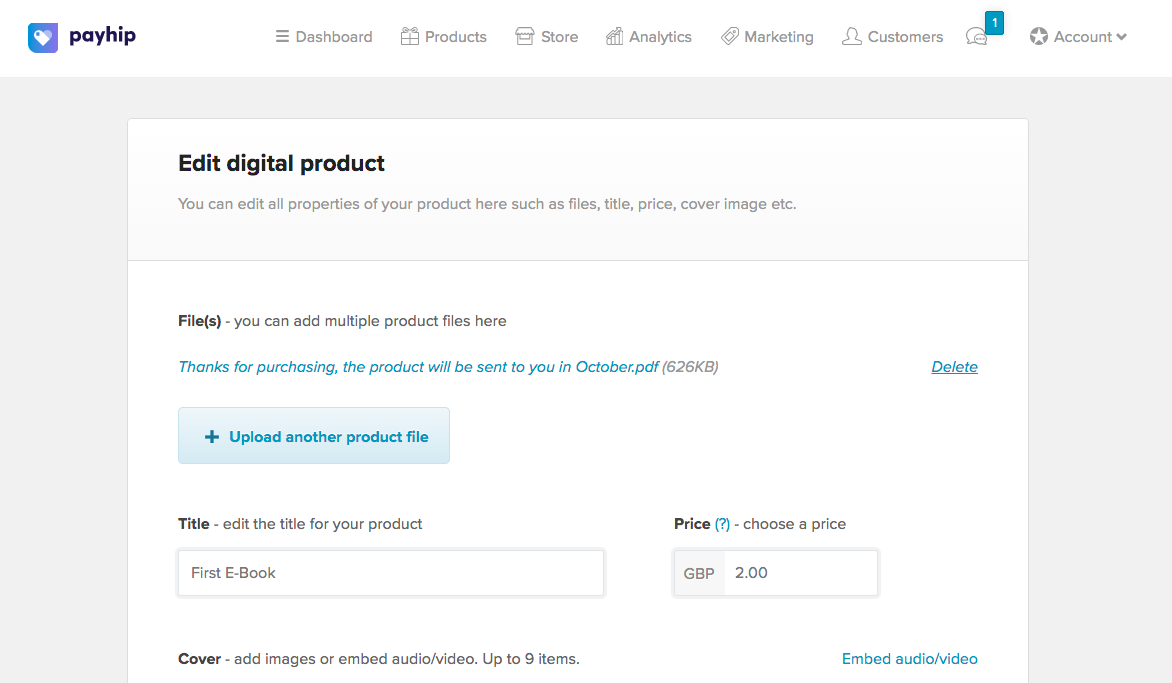 Screenshot showing you where to delete a digital product on Payhip