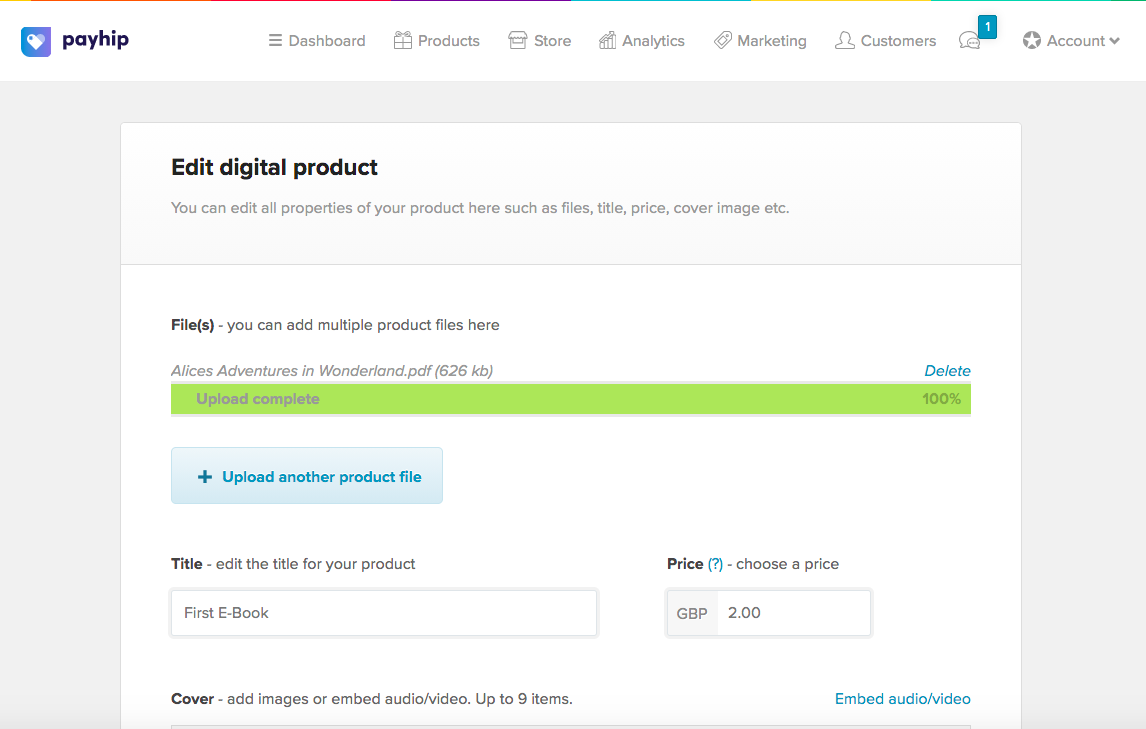 Uploading a digital product file in Payhip