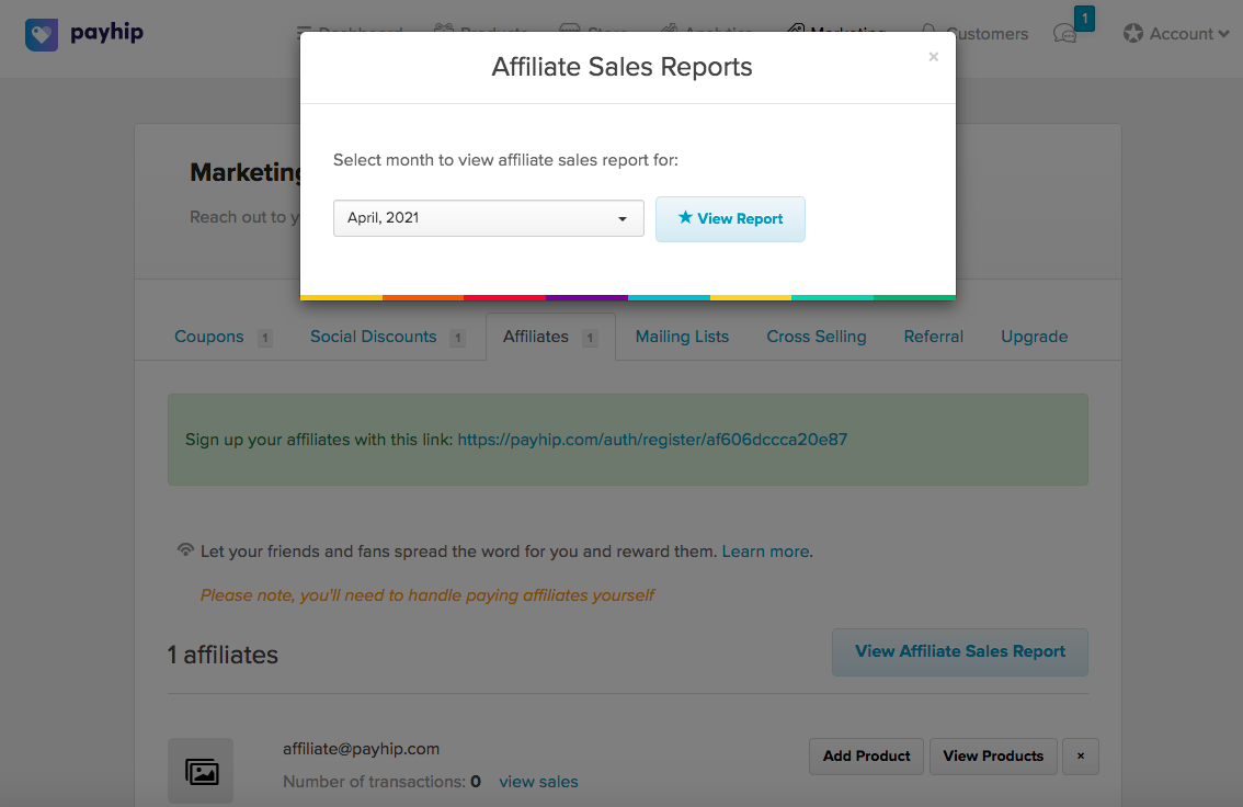 The Affiliate Sales Report modal on Payhip